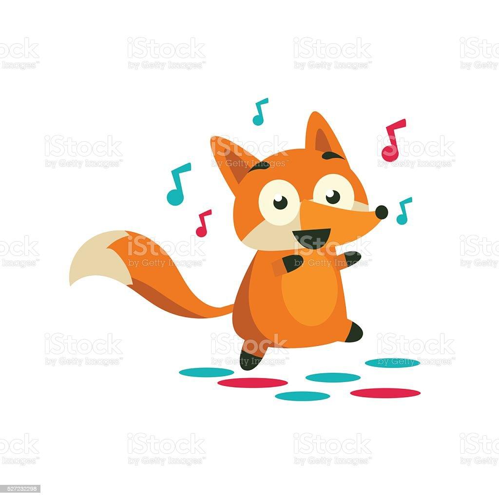 Fox On The Dancefloor vector art illustration