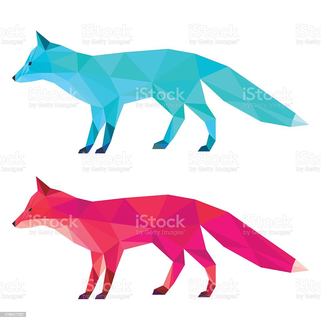 Fox set painted in imaginary colors isolated on white background vector art illustration