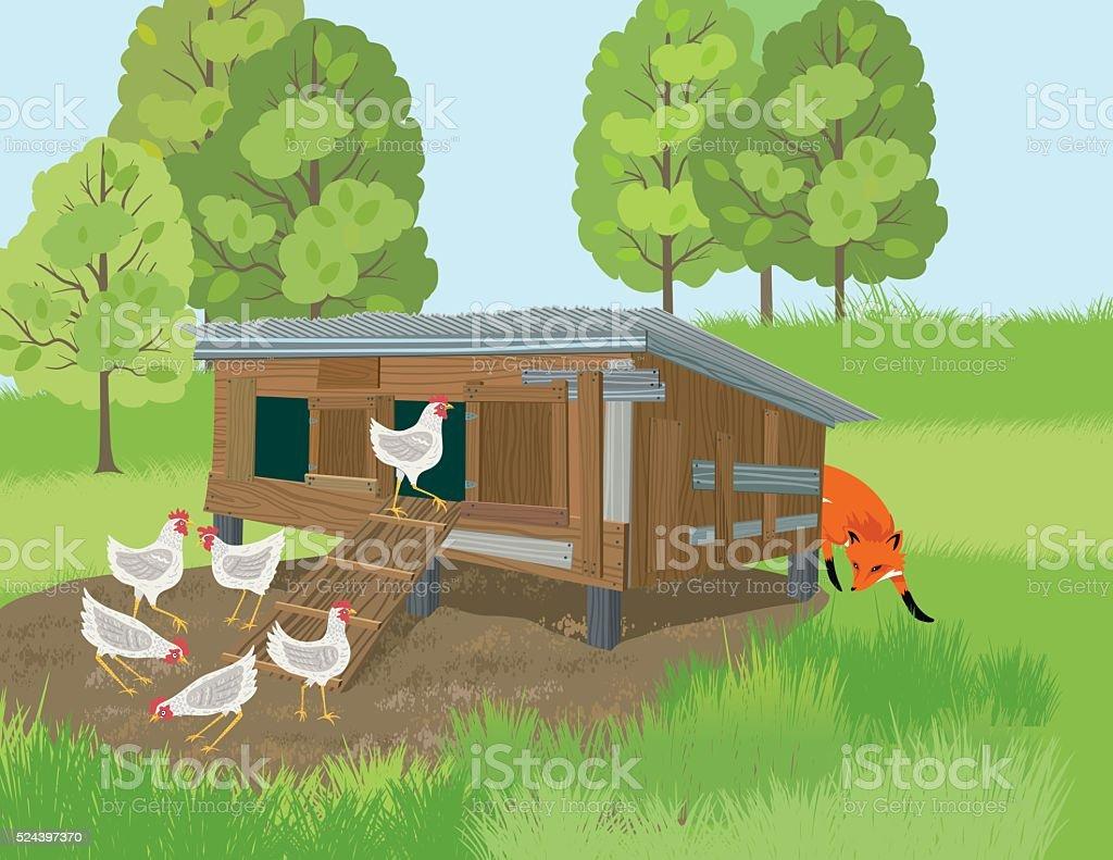 Fox Sneaks Around A Henhouse vector art illustration