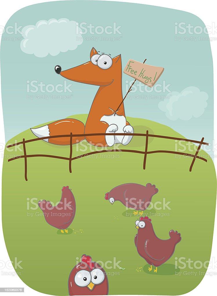 Fox spróbuj kąt wychylenia hens stockowa ilustracja wektorowa royalty-free