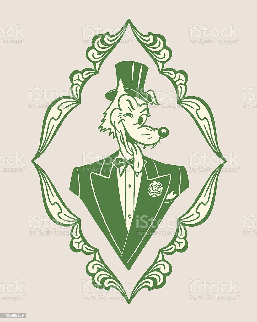Fox Wearing a Tuxedo and Top Hat vector art illustration