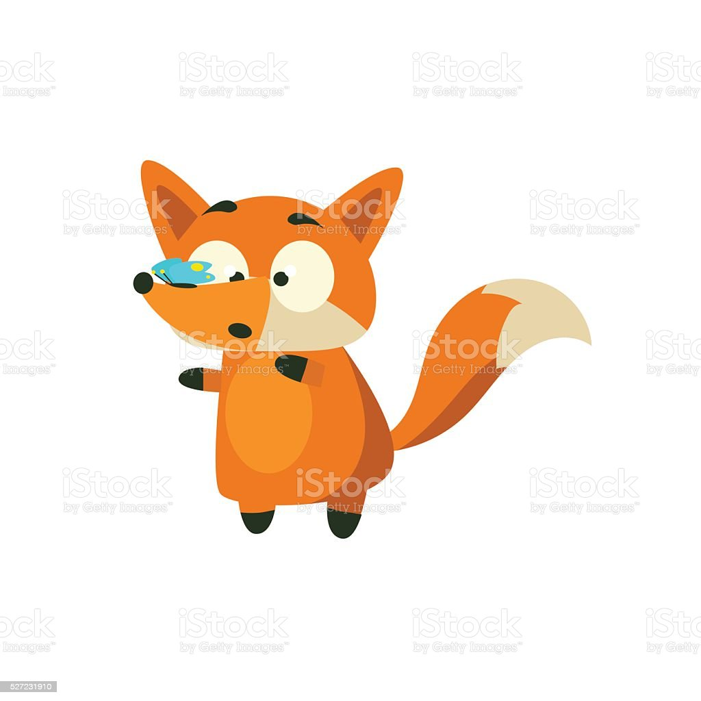 Fox With Butterfly On The Nose vector art illustration