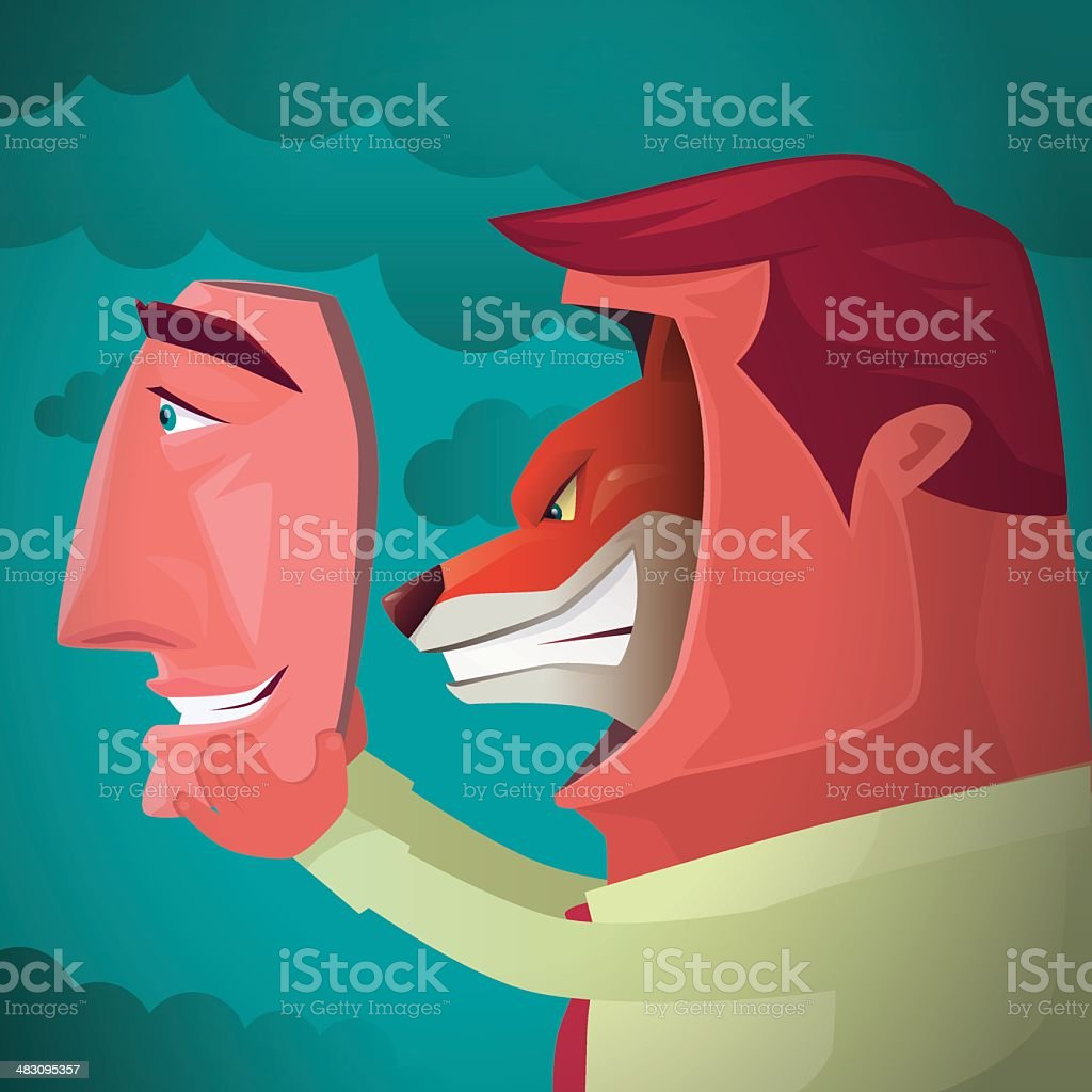 fox with smiling human face vector art illustration