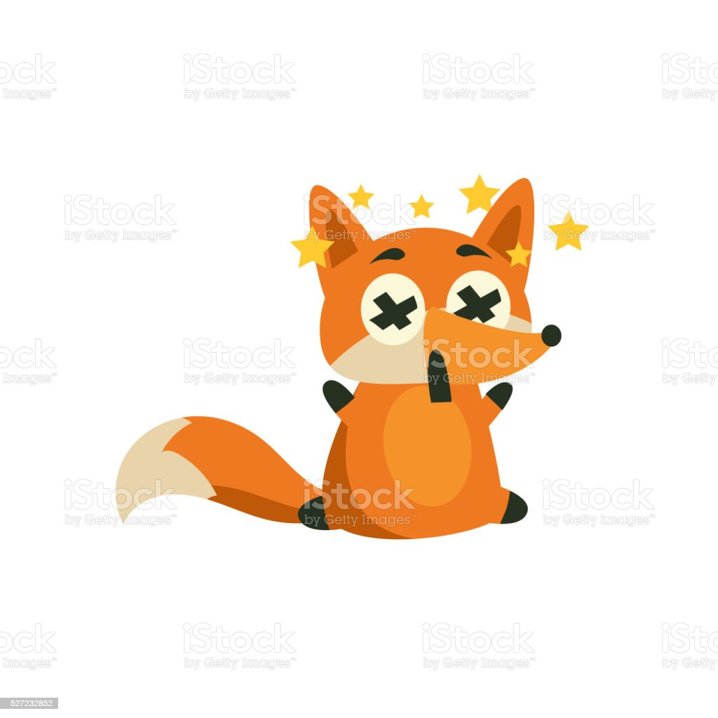 Fox With Stars Before Eyes vector art illustration
