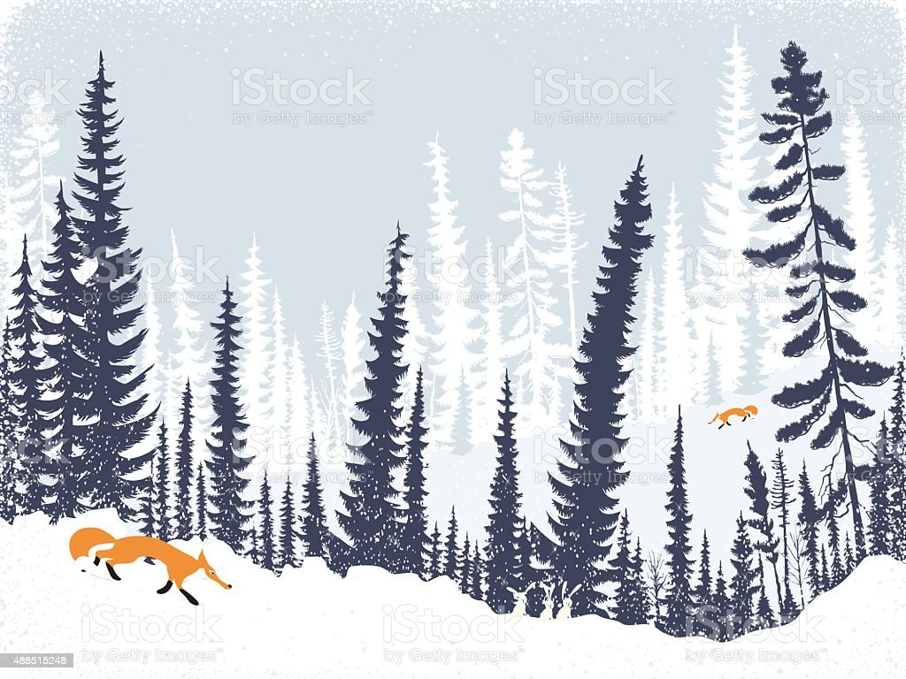 Foxes in the forest vector art illustration