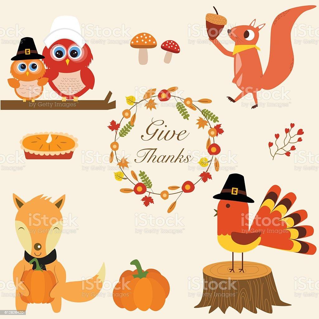 Fox,turkey chicken,pumpkins, pie,owls,squirrel vector art illustration