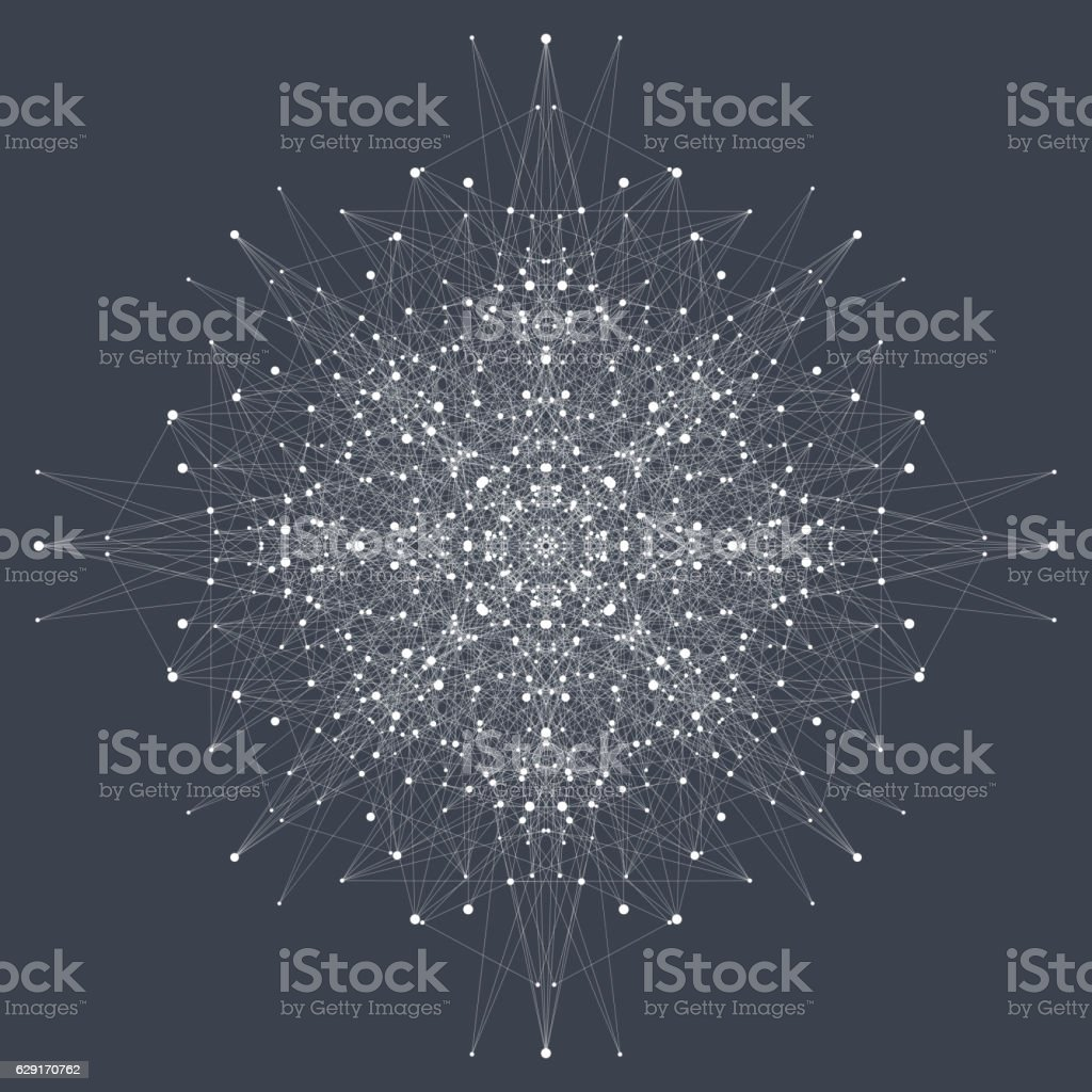 Fractal element with compounds lines and dots. Vector illustration. vector art illustration