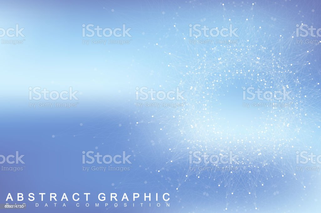 Fractal element with connected lines and dots. Vector illustration. vector art illustration