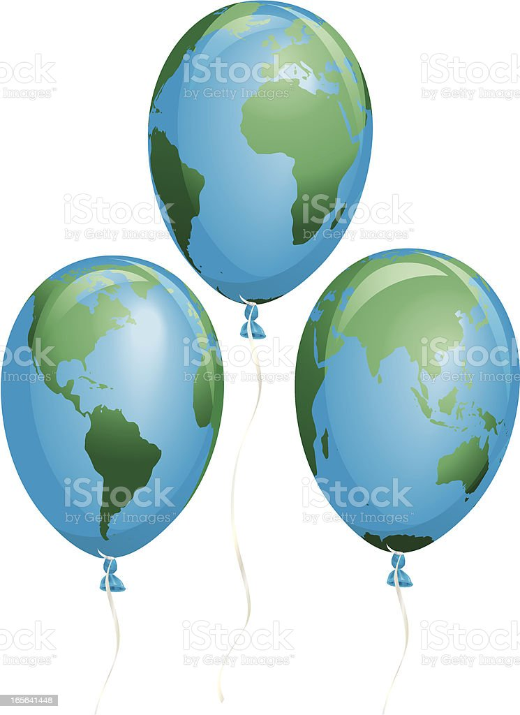 Fragile Earth Balloons Three Different Views royalty-free stock vector art