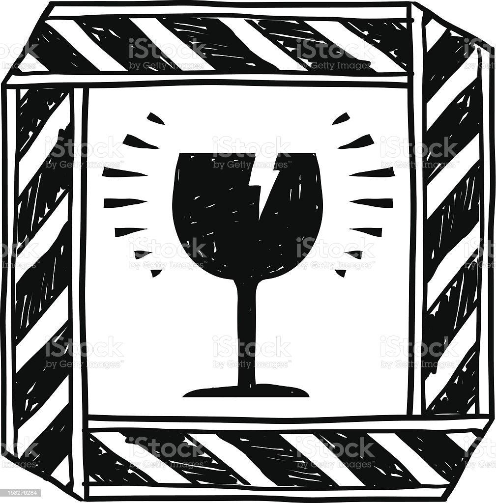 Fragile or breakable warning sketch vector art illustration