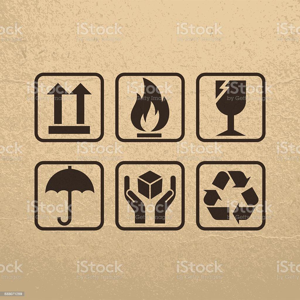 Fragile Symbols On Brown Paper Texture vector art illustration
