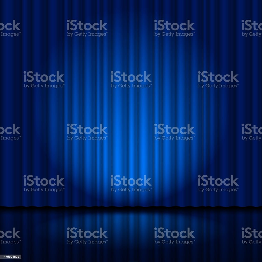 Fragment dark blue stage curtain vector art illustration