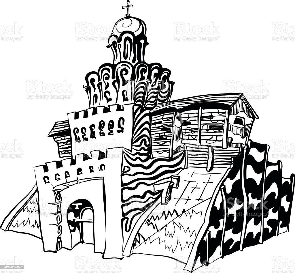 Fragment of an ancient medieval fortress Golden Gate vector art illustration