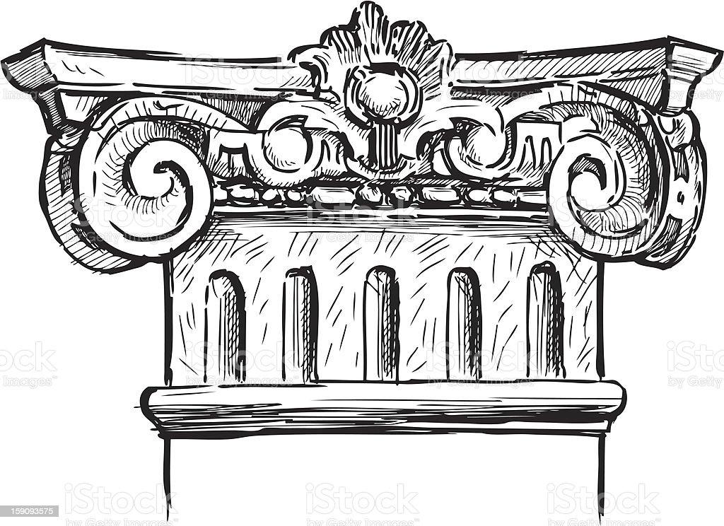 fragment of antique column royalty-free stock vector art