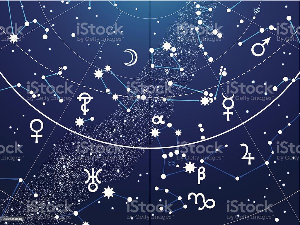 Fragment of Astronomical Celestial Atlas vector art illustration