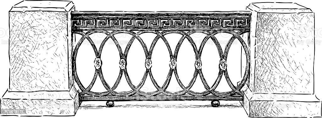 fragment of the fence on the embankment vector art illustration