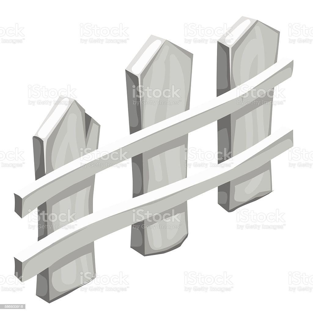 Fragment of white wooden fence isolated vector art illustration