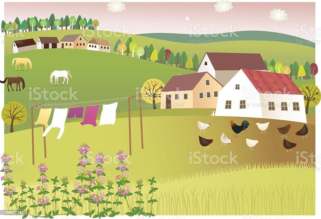 Fragrance of summer home vector art illustration