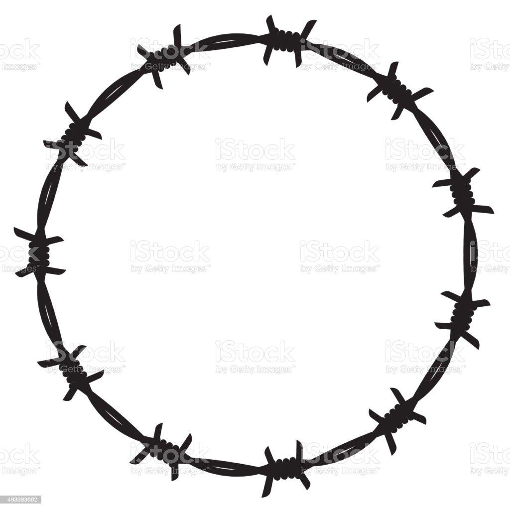 Frame barbed wire vector art illustration