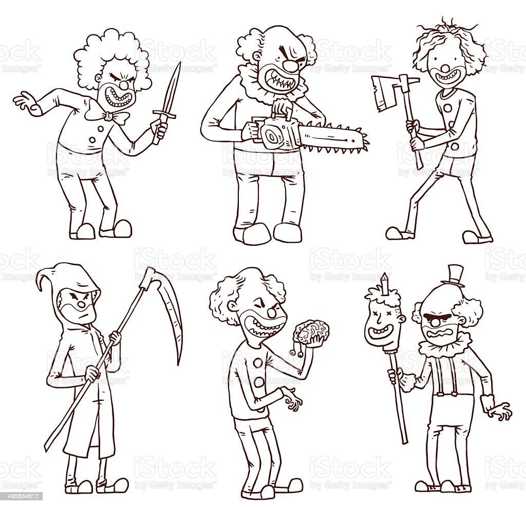 Frame Evil clown with knife vector art illustration