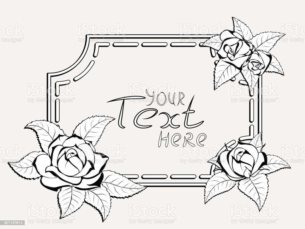 frame for congratulation with roses vector art illustration