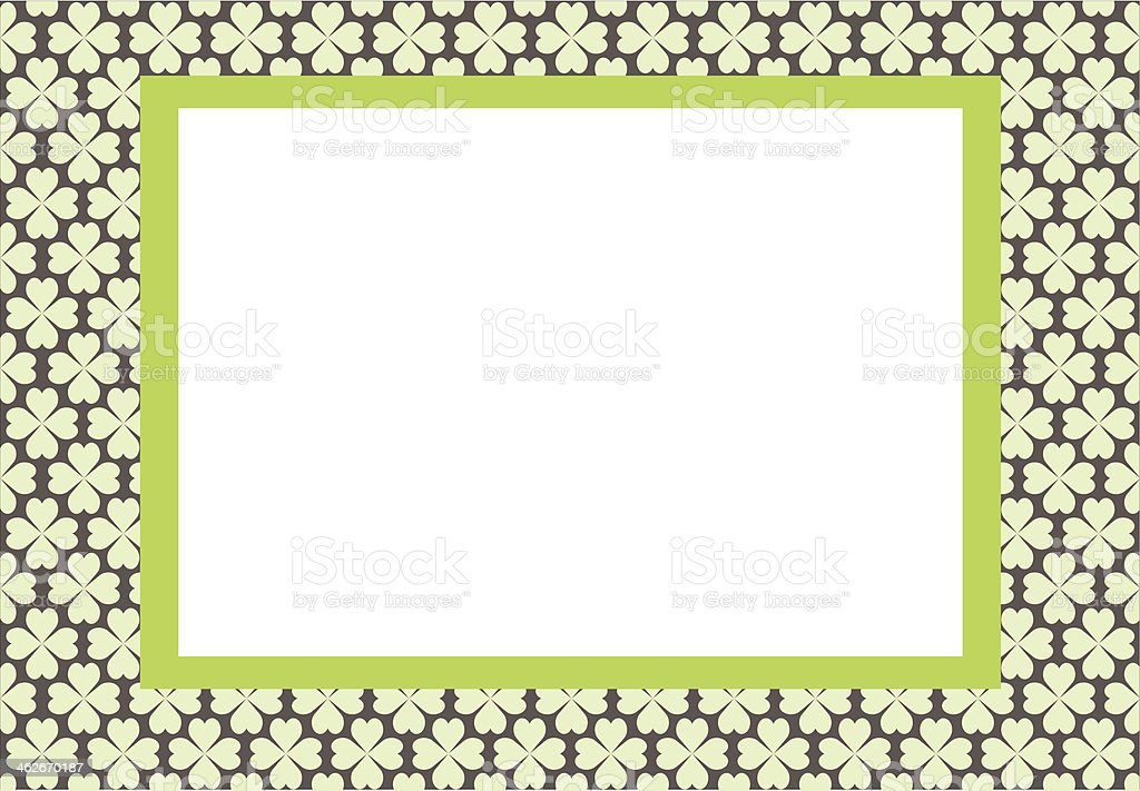 Frame for photo, background with green flowers vector art illustration