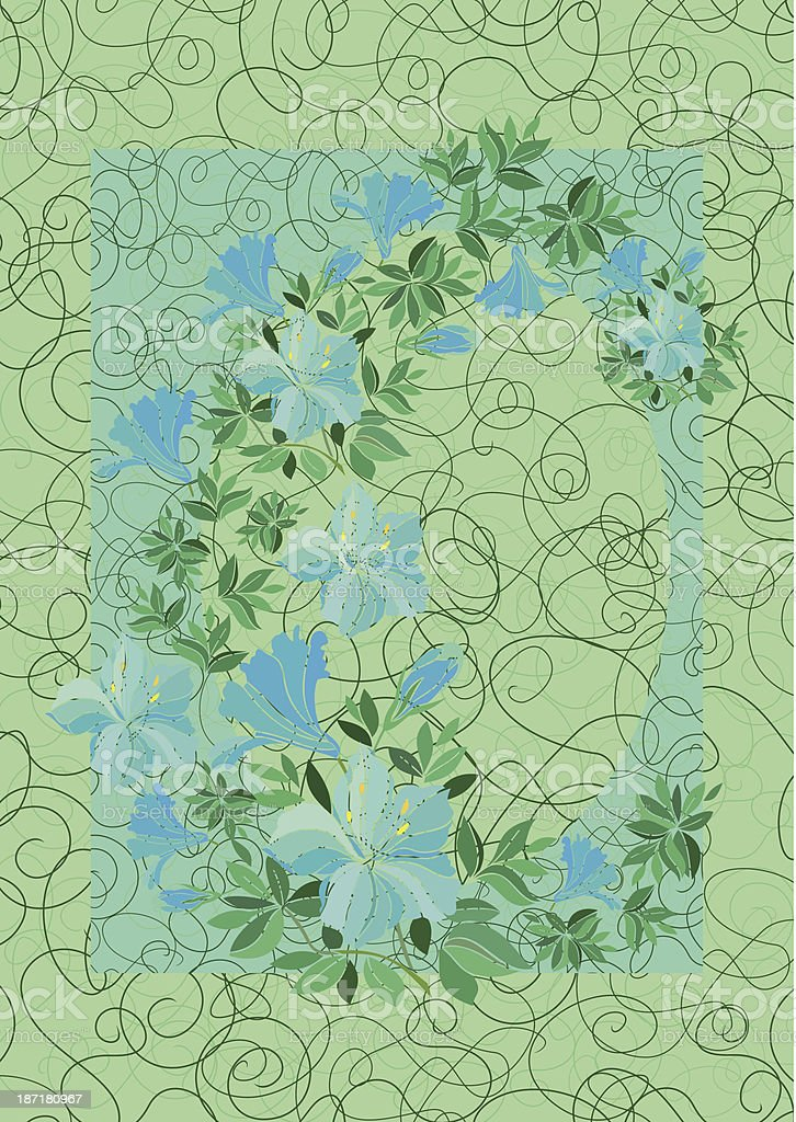 Frame from abstract blue flowers with background royalty-free stock vector art