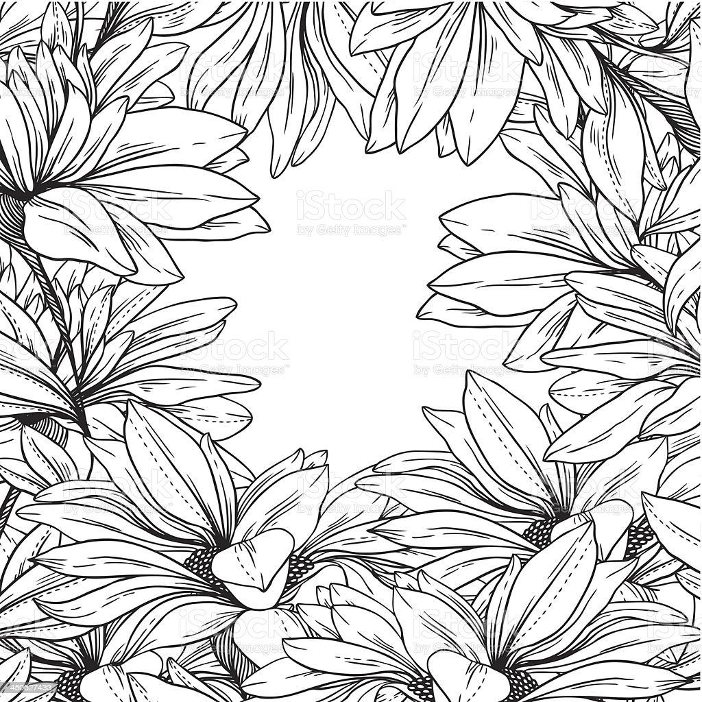 frame from monochrome chamomiles royalty-free stock vector art