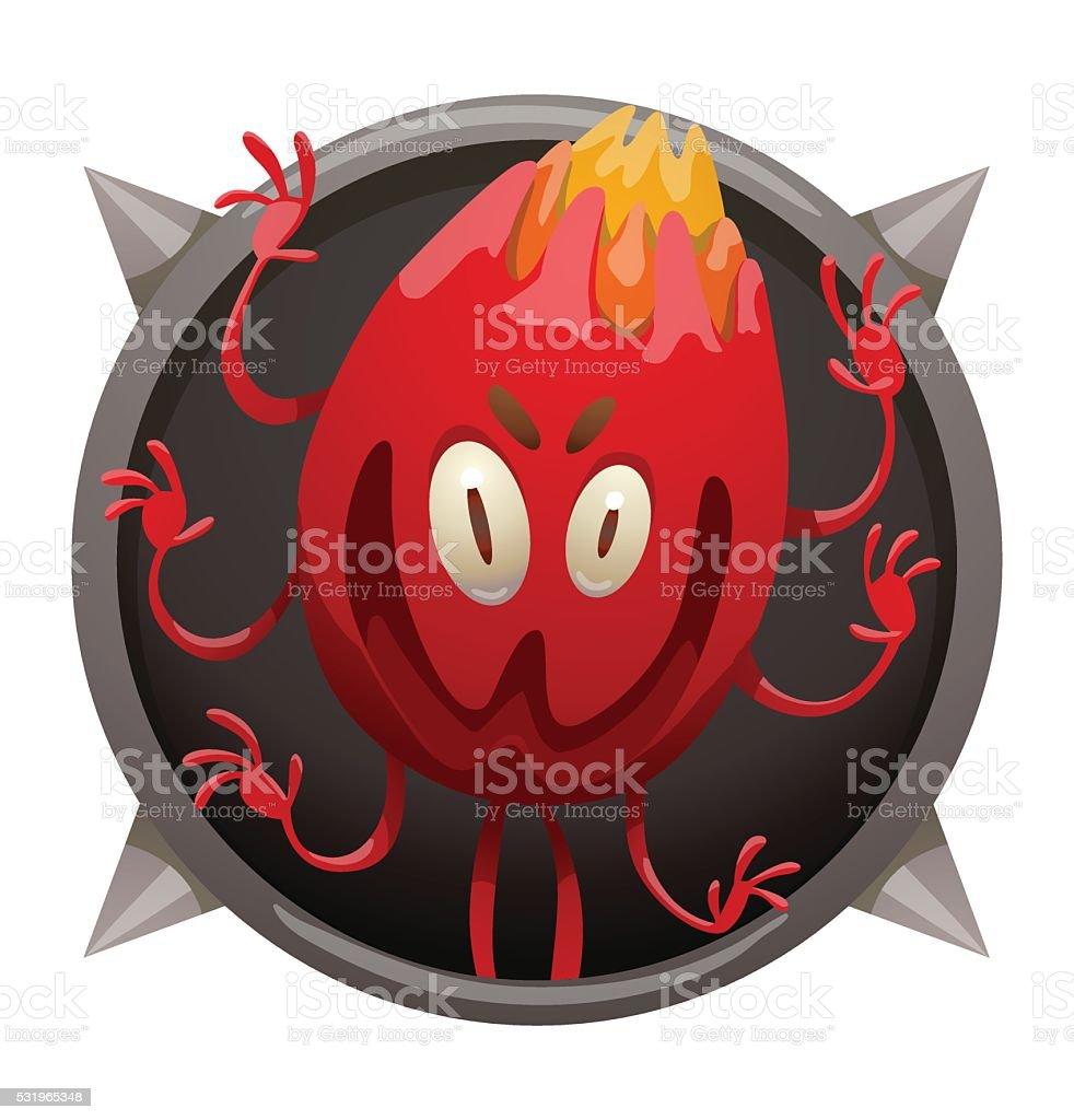 Frame, funny red monster like a hot ember vector art illustration