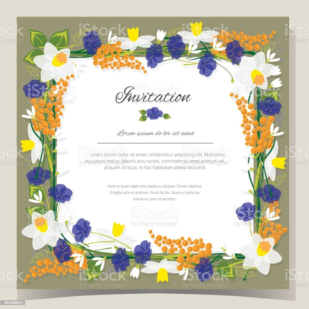 Frame Happy Birthday card Frame Wedding invitation card with flowers. Vector illustration vector art illustration