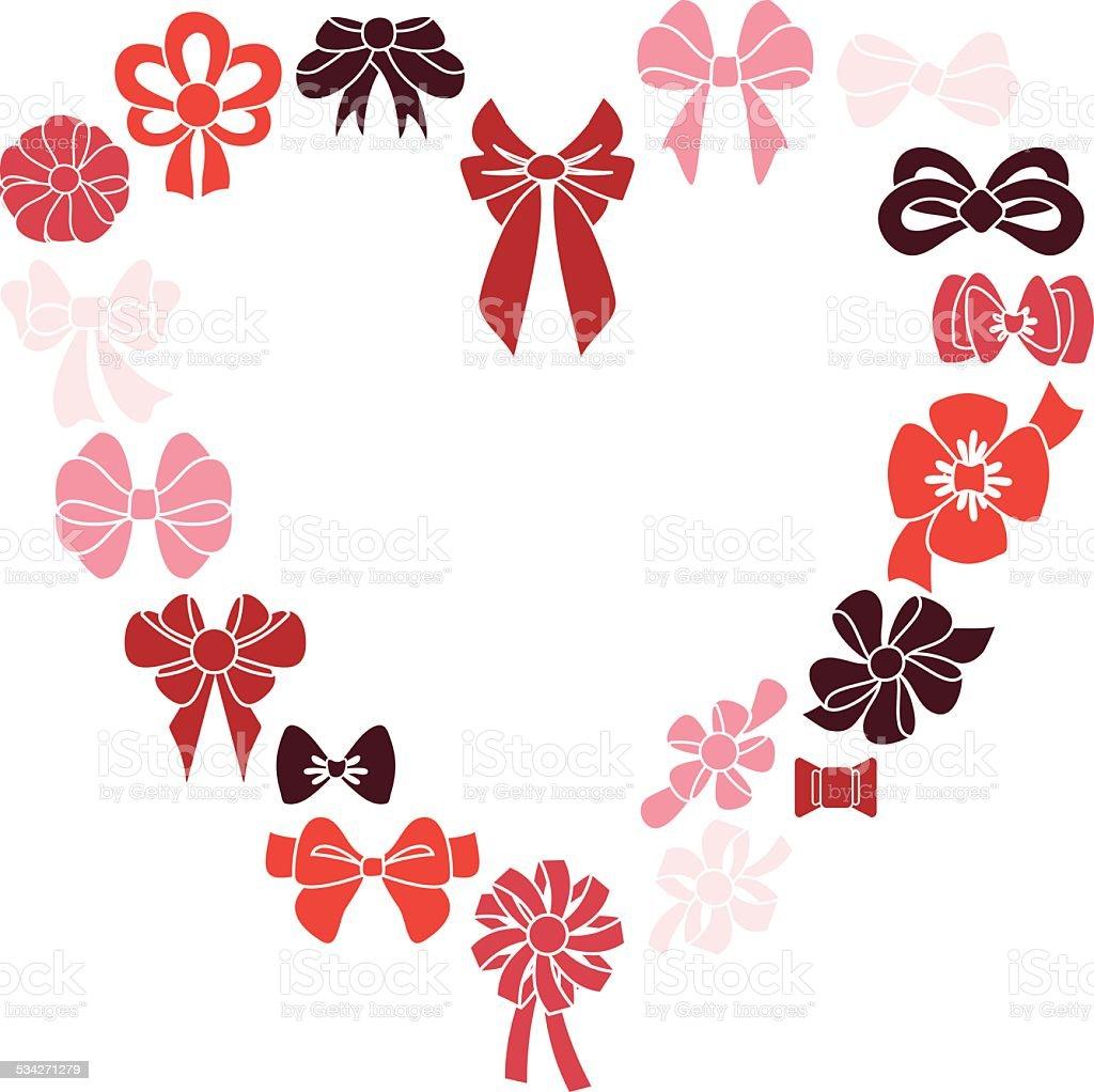 Frame heart of red ribbons Vector illustration. vector art illustration