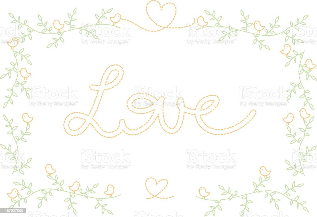 frame in spring,flower pattern, with birds and love sign royalty-free stock vector art