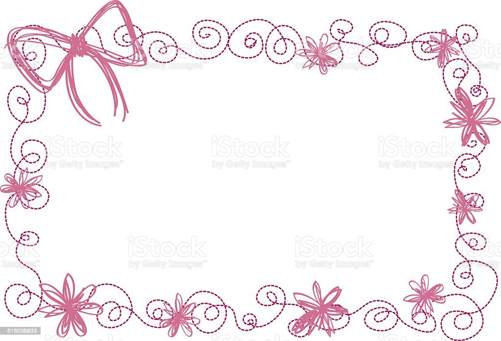 frame in spring,flower pattern, with ribbon vector art illustration