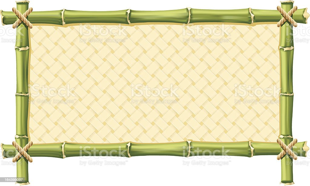 Frame made out of bamboo with yellow interior vector art illustration