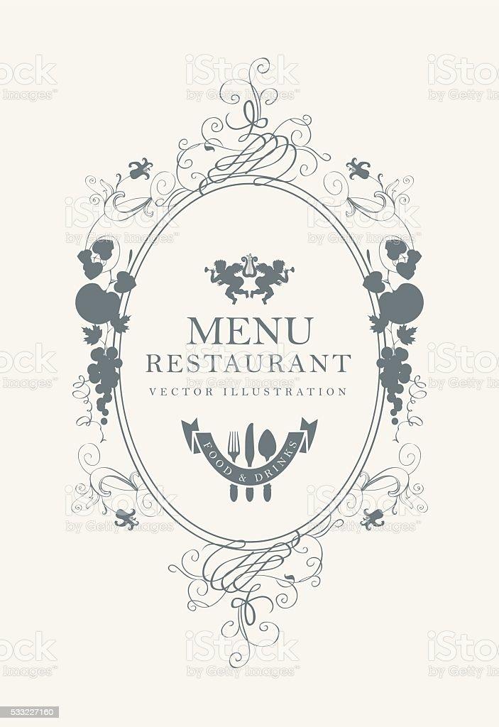 Frame menu with floral ornaments vector art illustration