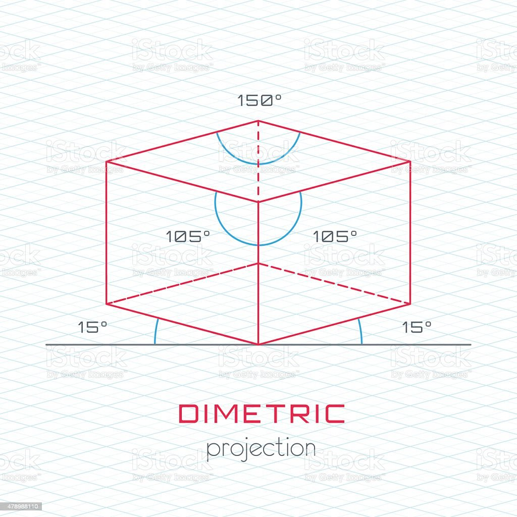 Frame Object in Axonometric Perspective - Dimetric Grid Template vector art illustration