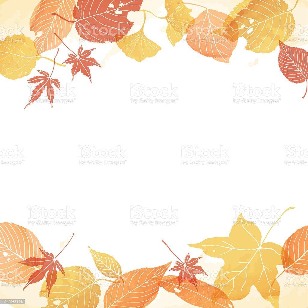 frame of autumn leaves vector art illustration