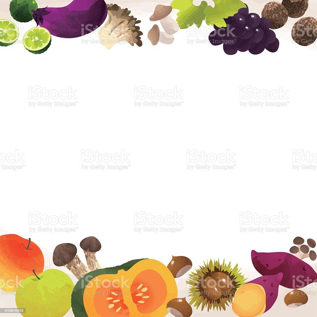 frame of autumn vegetables vector art illustration