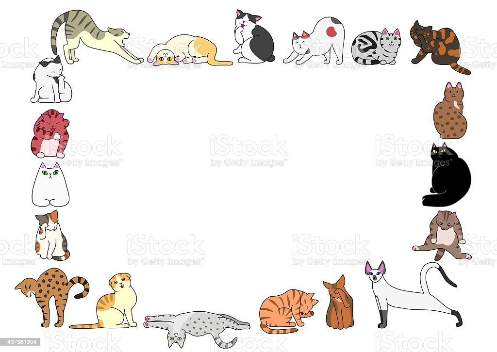 frame of cats vector art illustration