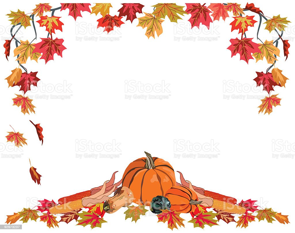 Frame of Fall Leaves and Harvest Vegetables on white background royalty-free stock vector art