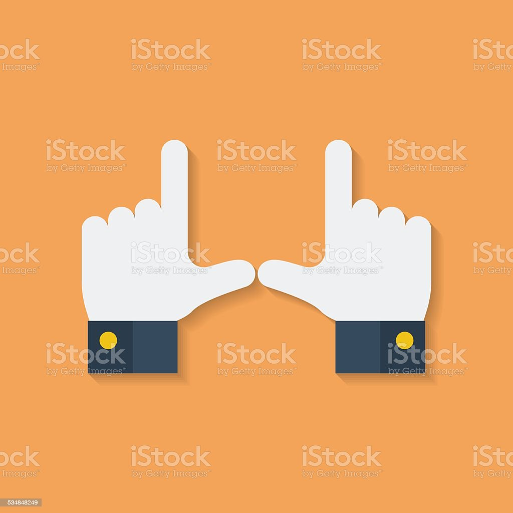 Frame of fingers or hands. Flat style vector art illustration