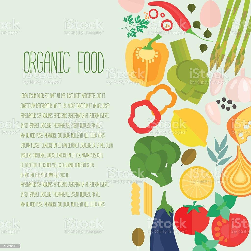 Frame of flat designed food with copyspace. vector art illustration