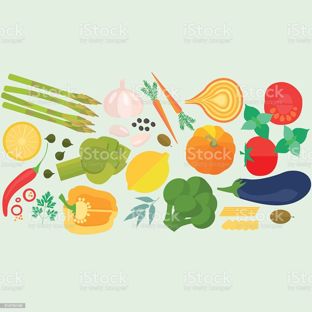 Frame of flat designed food with copyspace. vector art illustration