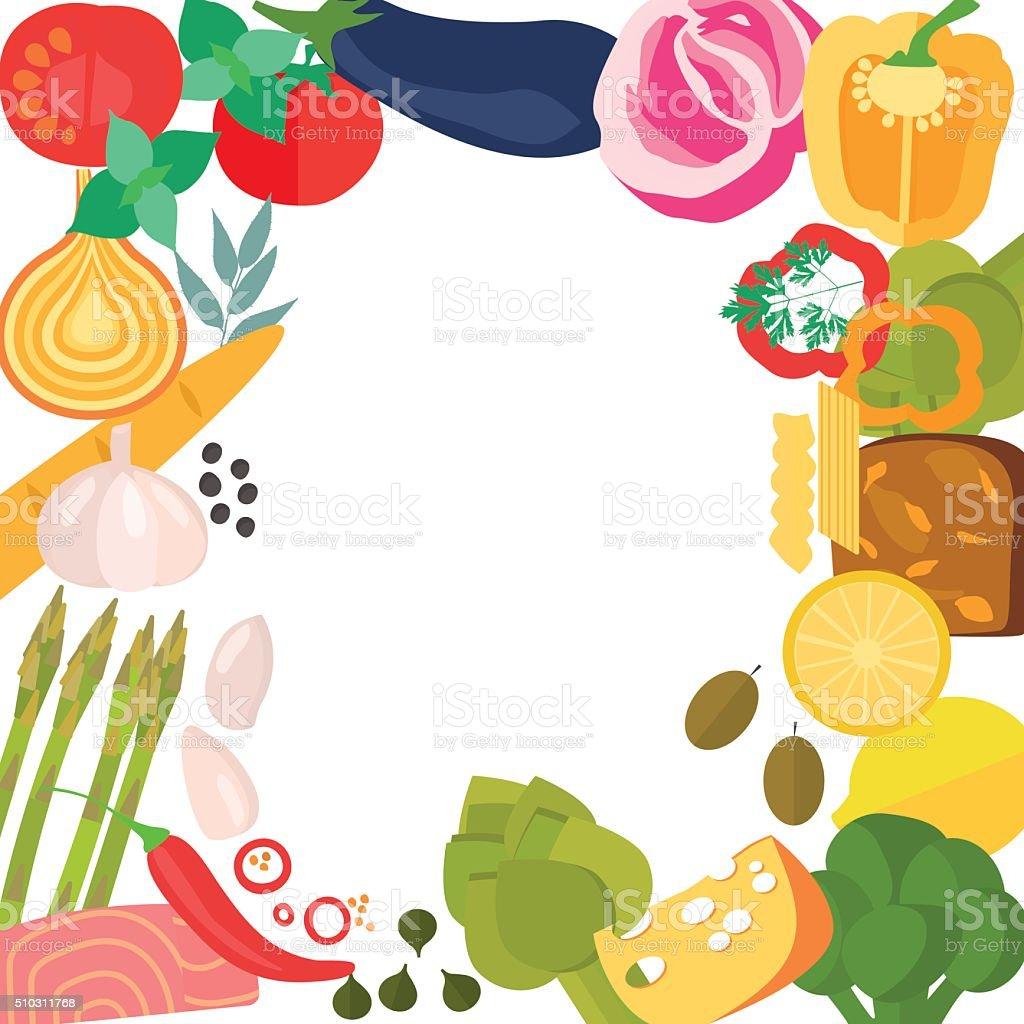 Frame of flat designed organic food. vector art illustration