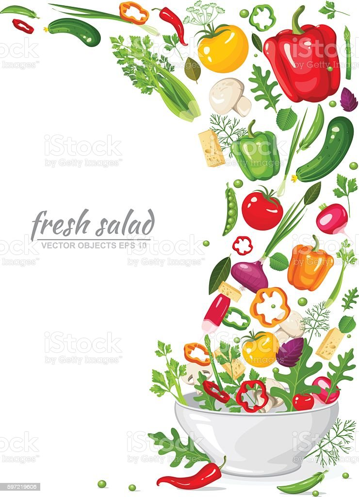 Frame of fresh, ripe, delicious vegetables in vegan salad vector art illustration