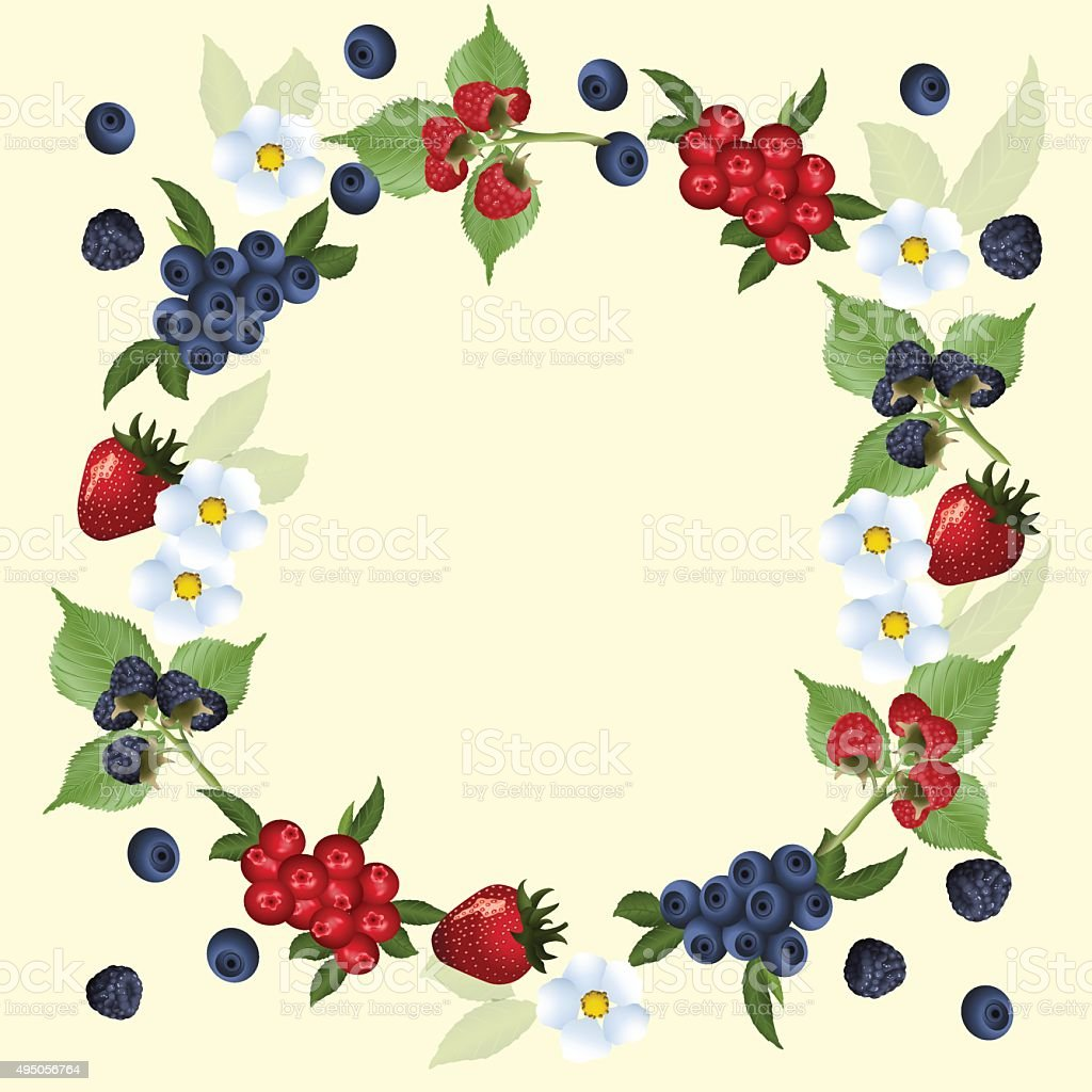 frame of strawberries and cranberries with green leaves vector art illustration