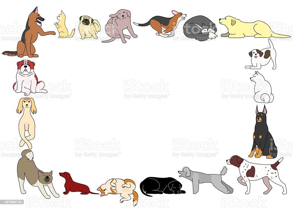 frame of various dogs postures vector art illustration