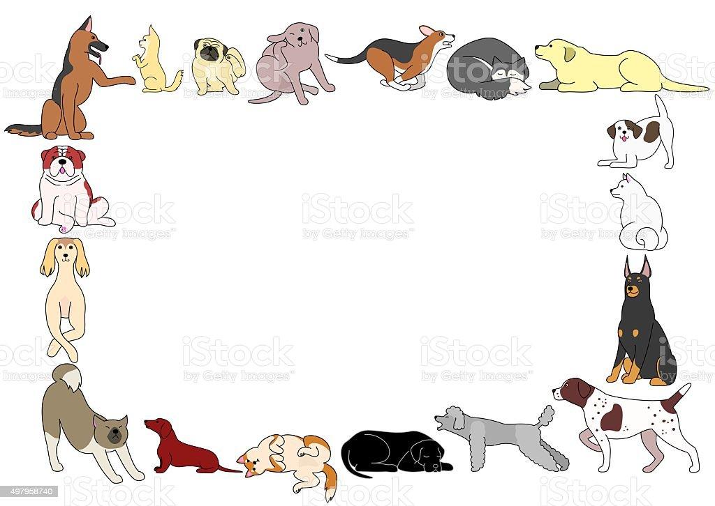frame of various dogs postures vector art illustration