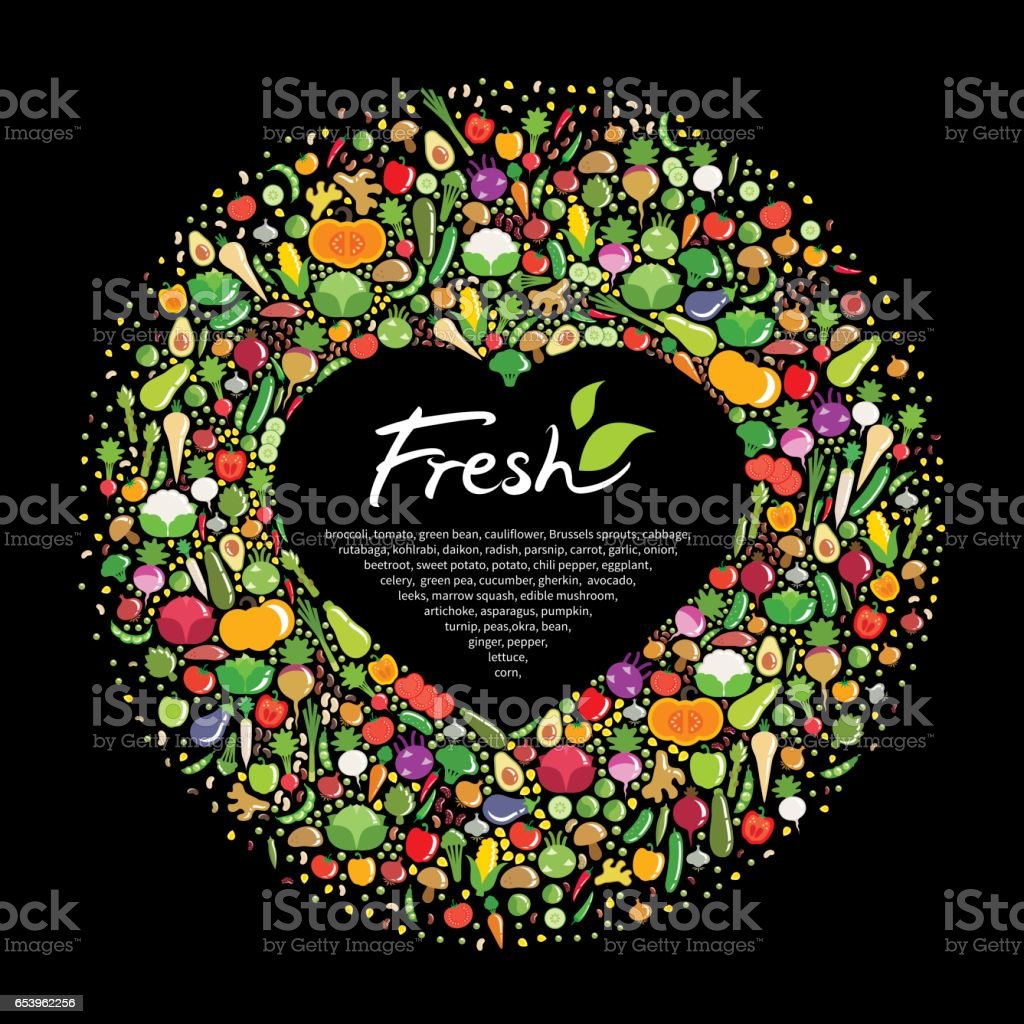 Frame of vegetables. The outer border is circular. The inner border is in the shape of a heart. vector art illustration