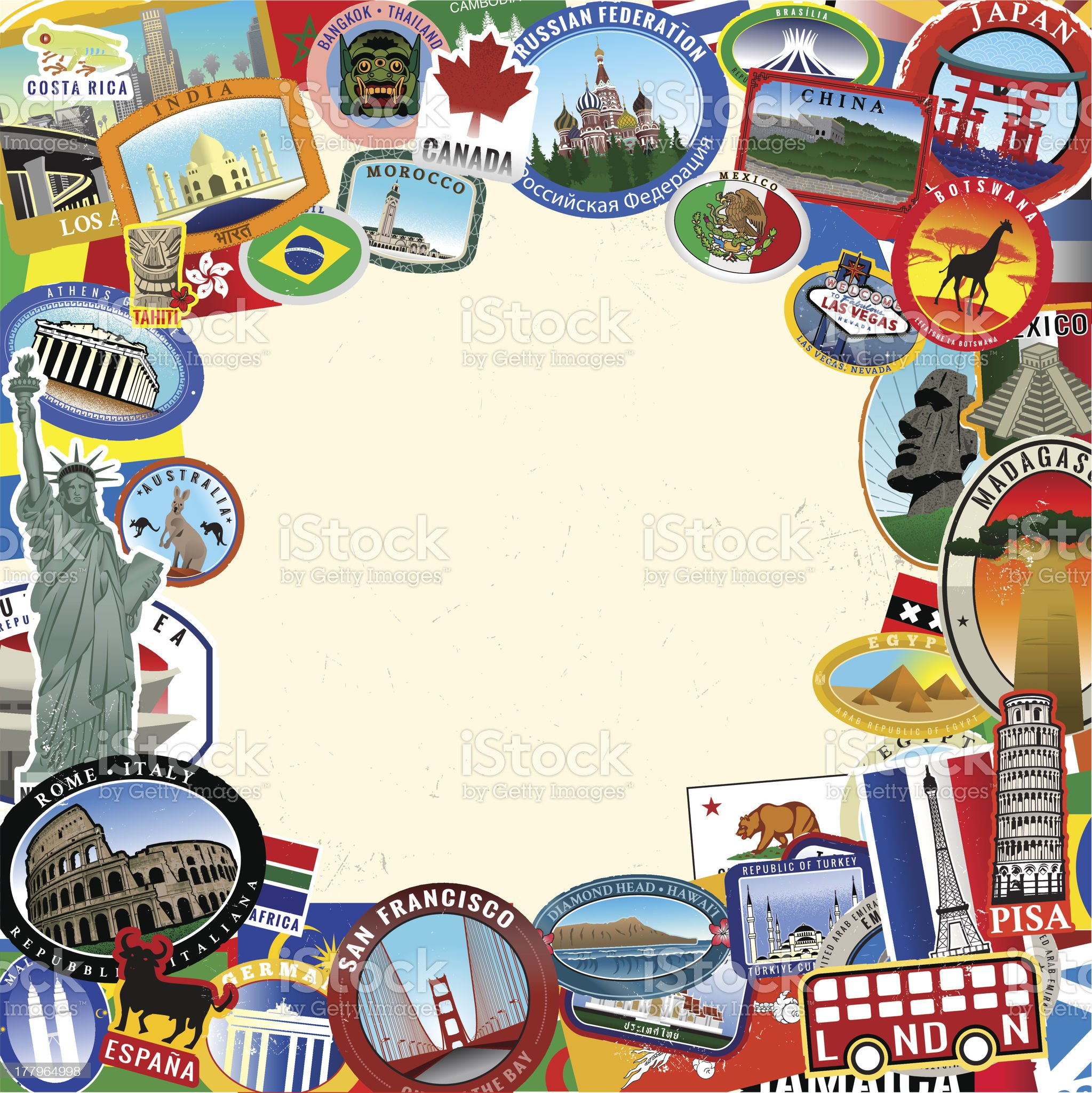 Frame of Vintage Era Travel Stickers royalty-free stock vector art